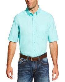 Ariat Men's Aqua Solid Short Sleeve Alden Shirt, , hi-res