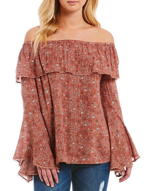 Miss Me Women's Floral Print Ruffle Off The Shoulder Top, Mauve, hi-res
