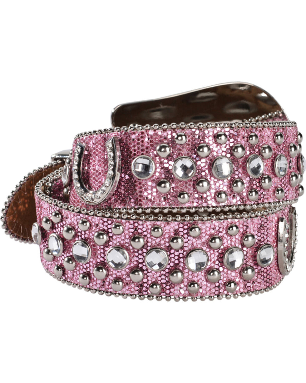 Nocona Belt Co. Kid's Pink Glitter Horseshoe Belt, Pink, hi-res