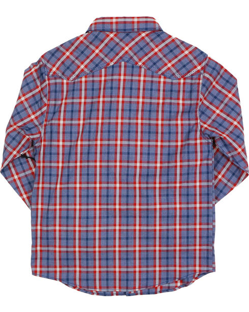Cody James® Boys' Plaid Long Sleeve Western Shirt, Red, hi-res