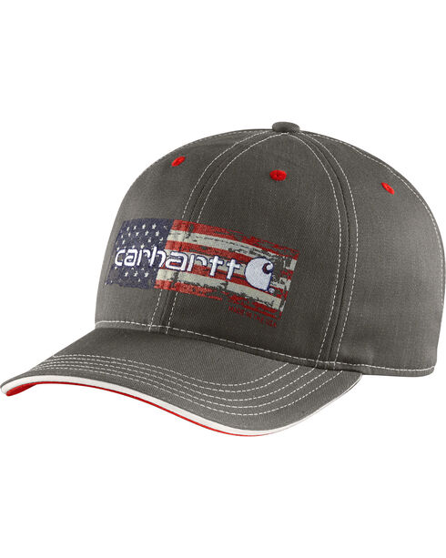 Carhartt's Men's American Flag Ball Cap, Black, hi-res