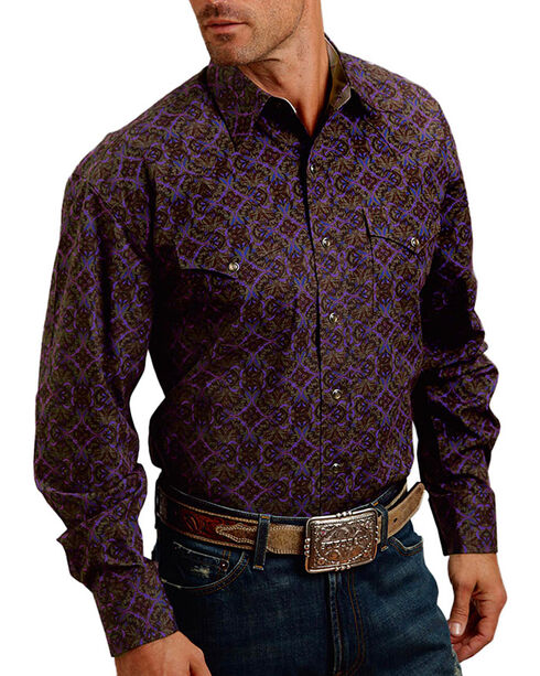 Stetson Men's Plume Patterned Long Sleeve Shirt, Purple, hi-res