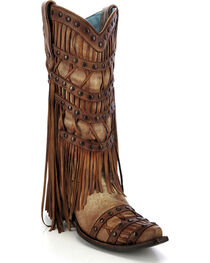 Corral Women's Fringe Layered Western Boots, , hi-res