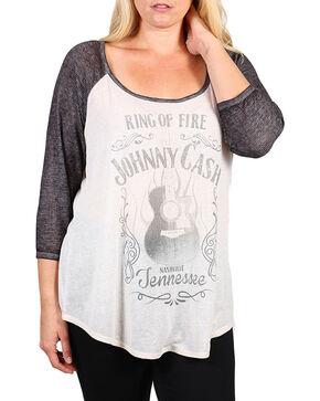 Project Karma Women's Plus Size Johnny Cash Baseball Tee, Ivory, hi-res