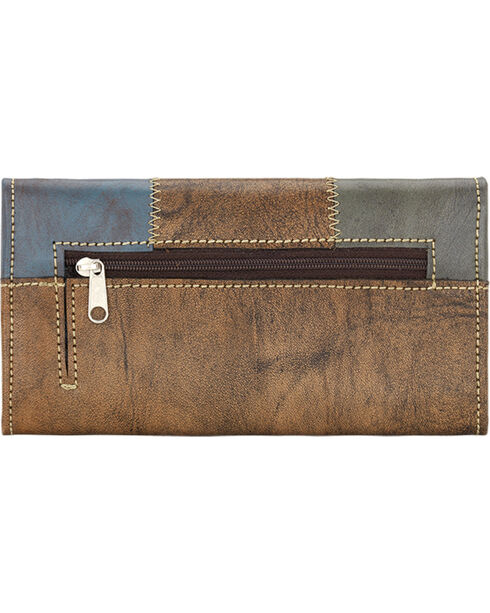 American West Women's Distressed Charcoal Brown Tri-Fold Wallet , Blue, hi-res
