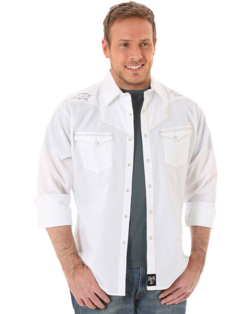 Rock 47 by Wrangler Men's Western Scroll Solid Long Sleeve Shirt, White, hi-res