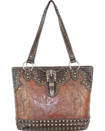 Savana Brown Tooled Conceal Carry Buckle Purse, , hi-res