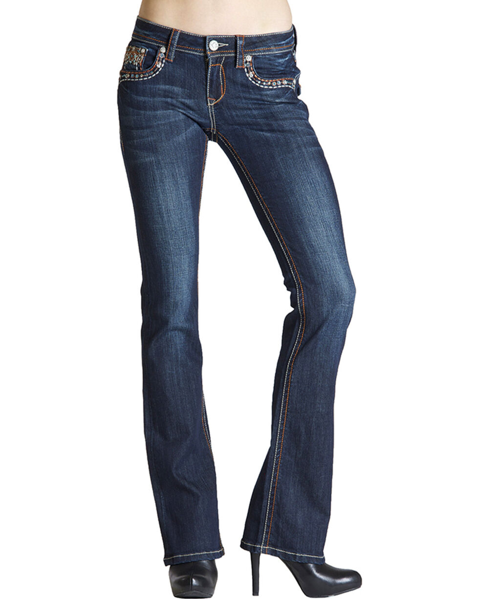 Grace in L.A. Turquoise & Rhinestone Bootcut Jeans, , hi-res