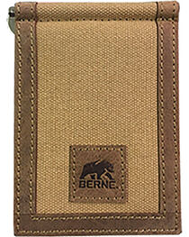 Berne Men's Genuine Leather Canvas Money Clip Wallet , Brown, hi-res