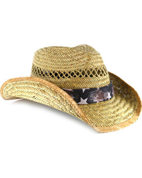 Cody James® Distressed Flag Straw Fashion Hat, Natural, hi-res