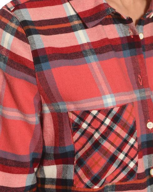 Shyanne Women's Coral Contrast Check Plaid Flannel, Coral, hi-res