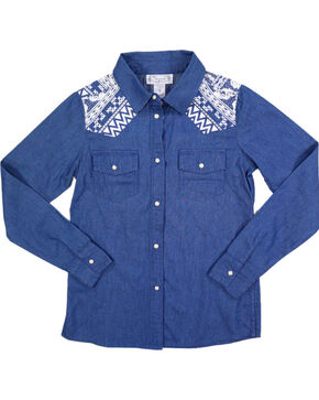Shyanne Girl's Denim and Aztec Long Sleeve Shirt, Blue, hi-res