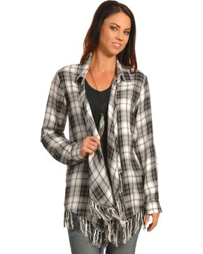 New Direction Women's Black Plaid Fringe Cardigan , Black, hi-res