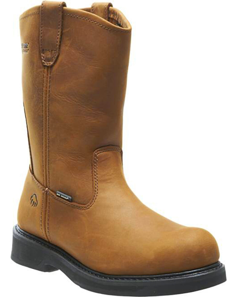 Wolverine Men's Ingham DuraShocks Steel Toe Wellington Boots, Brown, hi-res