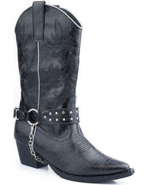 Roper Kid's Harness Western Boots, Black, hi-res