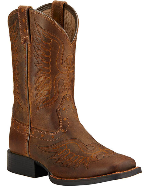Ariat Boys' Honor Cowboy Boots - Square Toe , Dark Brown, hi-res