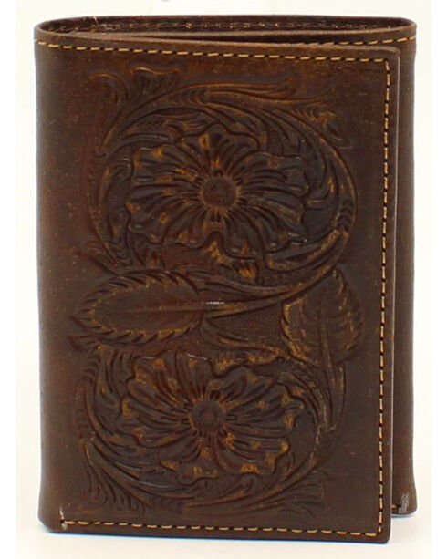Ariat Floral Embossed Tri-Fold Wallet, Brown, hi-res