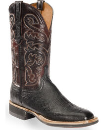 Lucchese Men's Black Lance Smooth Ostrich Western Boots - Square Toe , Black, hi-res