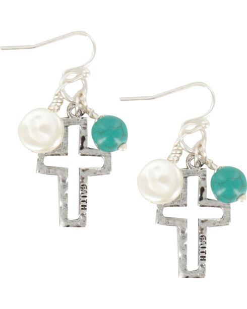 Shyanne® Women's Cross and Bead Earrings, Silver, hi-res