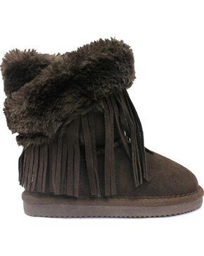 Lamo Footwear Kid's Fringe Wrap Boots, Chocolate, hi-res