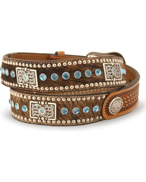 Nocona Belt Co. Men's Hair-on Hide Concho Belt, Natural, hi-res