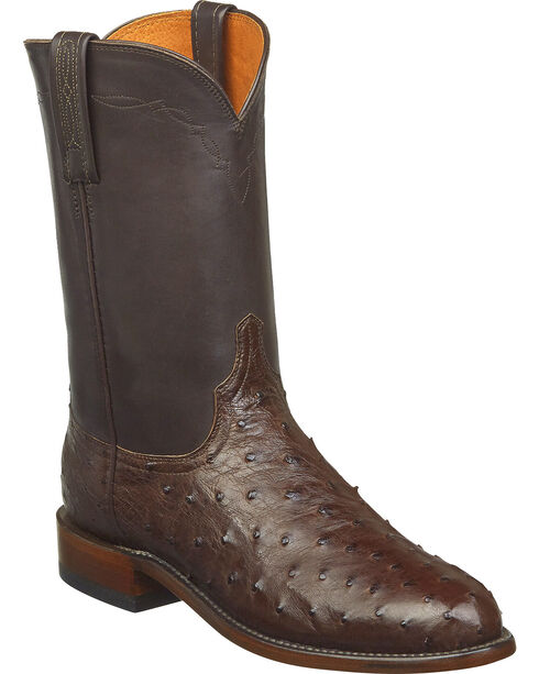 Lucchese Men's Zane Full Quill Ostrich Roper Boots - Round Toe, Dark Brown, hi-res