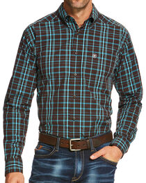 Ariat Men's Grid Patterned Long Sleeve Shirt, Brown, hi-res