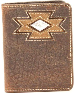 Ariat Diamond Cross Cocho Tri-fold Wallet, Med Brown, hi-res