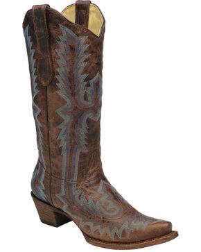 Corral Women's Distressed Embroidered Snip Toe Western Boots, Cognac, hi-res