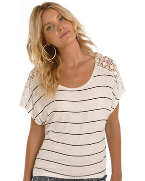 Rock & Roll Cowgirl Women's Stripes and Lace Short Sleeve Top, Natural, hi-res