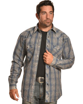 Crazy Cowboy Men's Muted Grey and Blue Plaid Western Snap Shirt  , Grey, hi-res