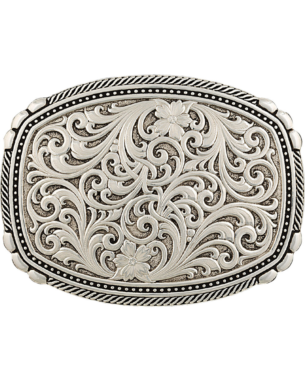 Montana Silversmiths Men's Antiqued Medium Two-Tone Framed Buckle, Silver, hi-res