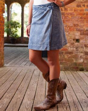 Ryan Michael Women's Indigo Reversible Printed Denim Skirt , Indigo, hi-res