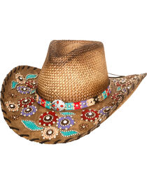 Bullhide Women's Setting The World Panama Straw Cowgirl Hat , , hi-res