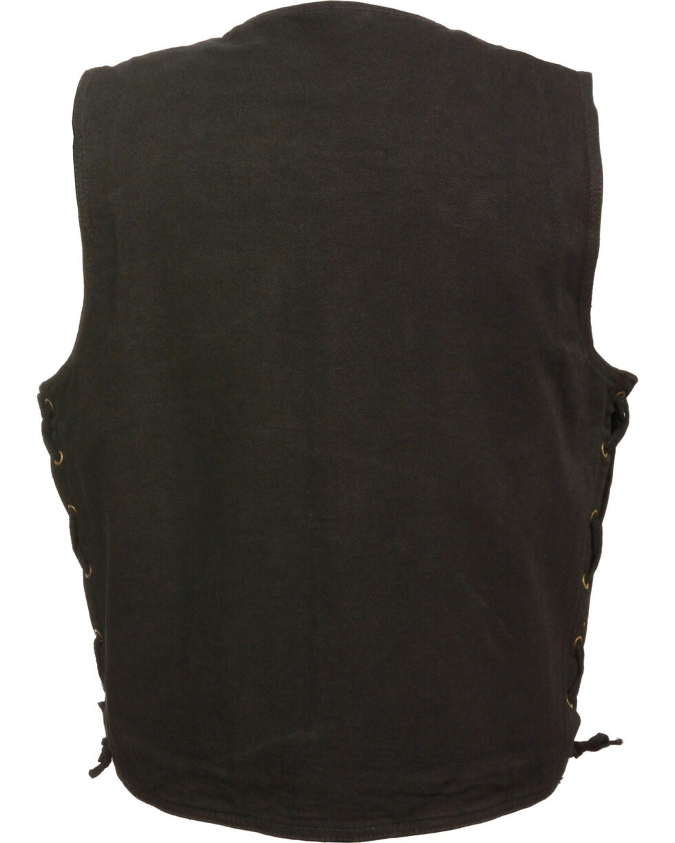 Milwaukee Leather Men's Side Lace Denim Vest w/ Chest Pockets - Big - 4X, , hi-res