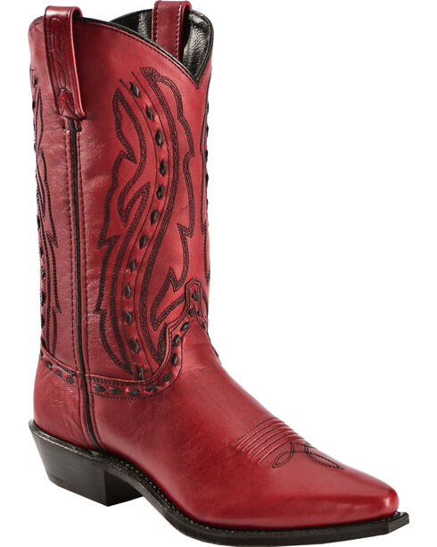 """Abilene Women's 11"""" Hand-Laced Western Boots, Red, hi-res"""