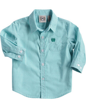 Cinch Infant Boys' Match Dad Teal Print Button Down Shirt, Teal, hi-res