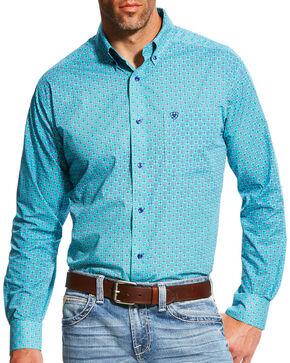 Ariat Men's Teal Morgan Print Long Sleeve Shirt , Green, hi-res
