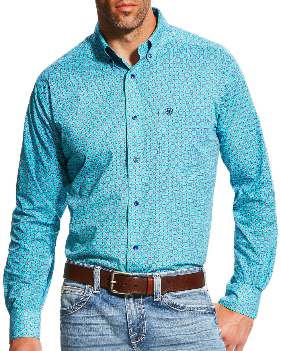 Ariat Men's Teal Morgan Print Long Sleeve Shirt , Green, hi-res