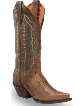 "Dan Post Women's Teju Lizard 13"" Western Boots - Snip Toe, Brown, hi-res"