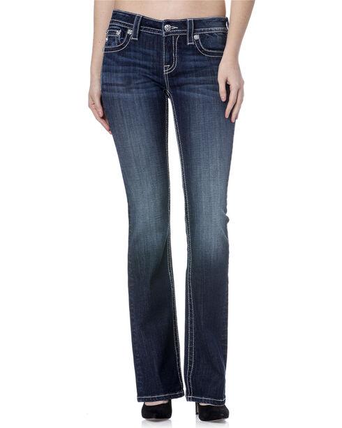 Miss Me Women's Cowhide Trim Mid Rise Jeans - Boot Cut, Dark Blue, hi-res