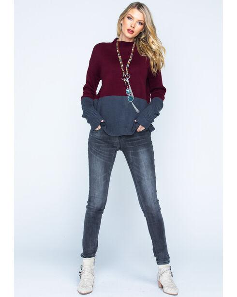 Polagram Women's Two Tone Mock Neck Sweater, Burgundy, hi-res