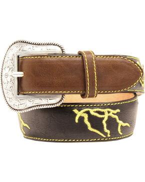 M&F Western Kid's Lightning Bolt Leather Belt, Brown, hi-res