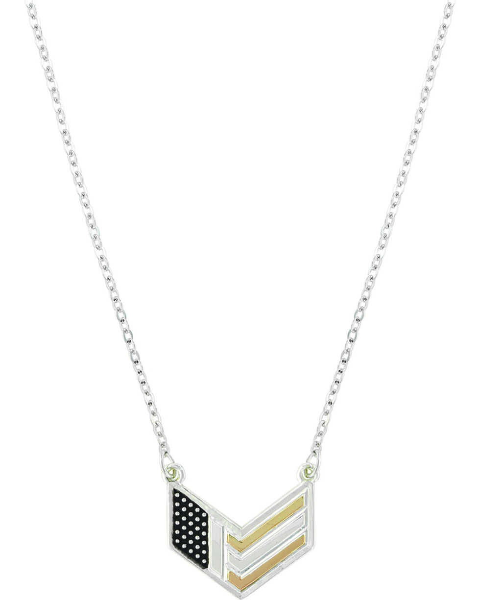 Montana Silversmiths Women's Patriotic Chevron Flag Necklace, No Color, hi-res