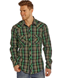 Rock & Roll Cowboy Men's Plaid Patterned Long Sleeve Shirt, , hi-res