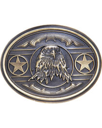 AndWest Men's Patriotic Bald Eagle with Stars Belt Buckle, , hi-res