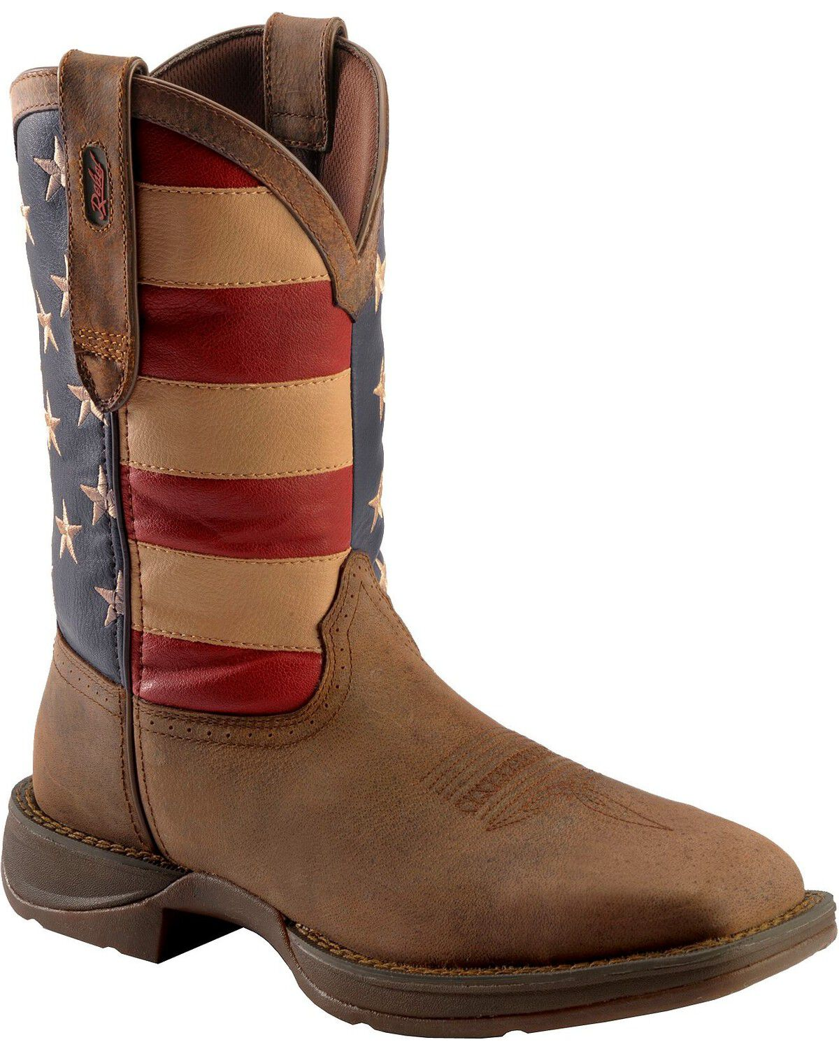 rebel by durango mens steel toe american flag western work boots brown hi