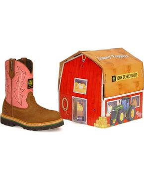 John Deere Infants' Pull-On Western Boots, Pink, hi-res