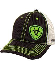 Ariat Men's Black Pinstripe Pattern Lime Shield Baseball Cap , , hi-res