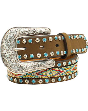 "Blazin Roxx Girls' 1 1/4"" Ribbon Inlay Turquoise Stone Belt, Med Brown, hi-res"
